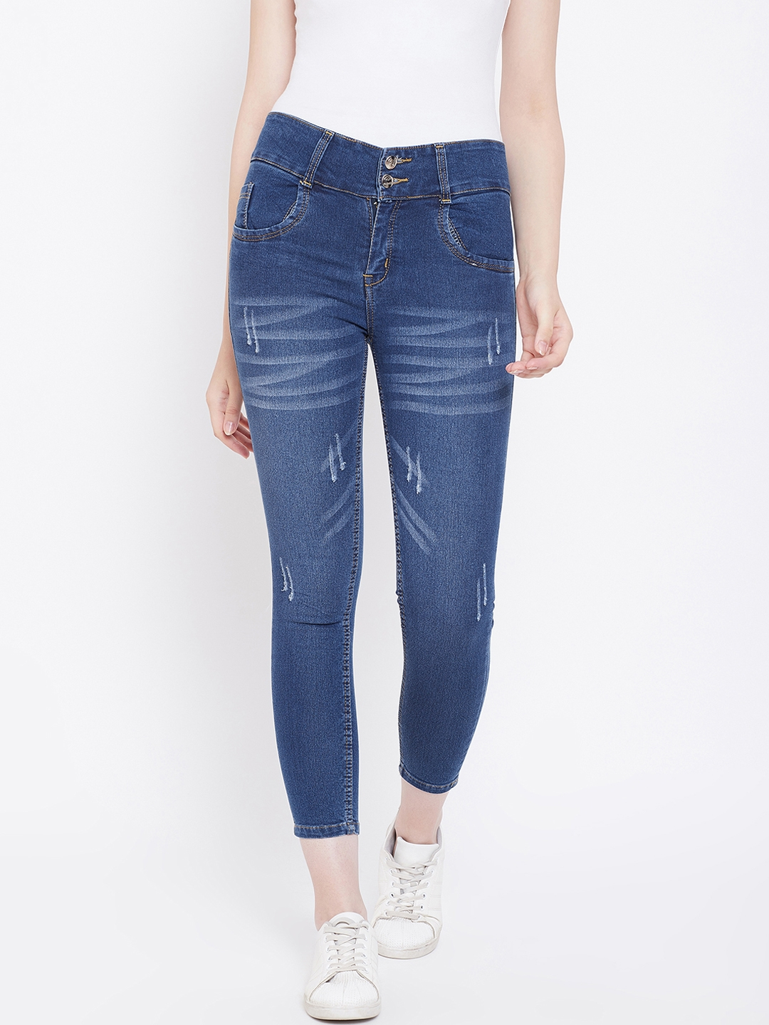 Nifty Women Blue Slim Fit Mid Rise Mildly Distressed Jeans