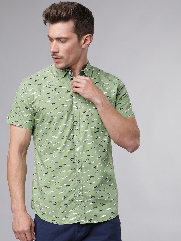 LOCOMOTIVE Men Green   Navy Blue Slim Fit Printed Casual Shirt
