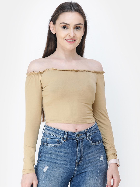 Cation Women Beige Solid Bardot Crop Top