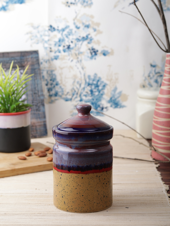 VarEesha Purple   Mustard Yellow Ceramic Handcrafted Food Container 500 ml