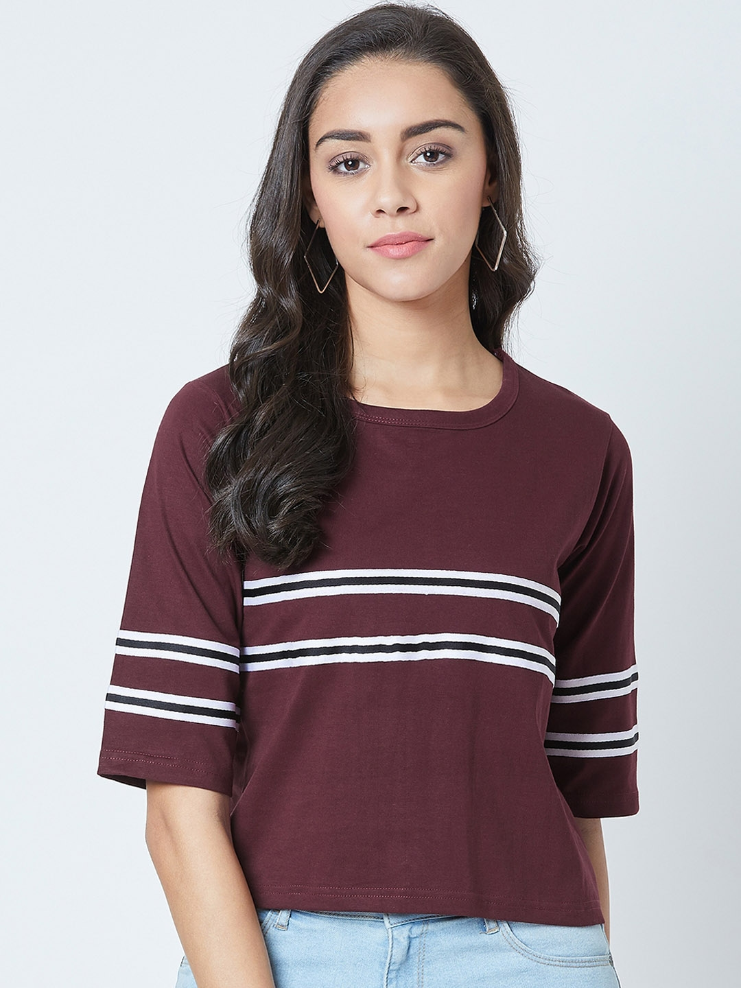 The Dry State Women Maroon Striped Round Neck T shirt
