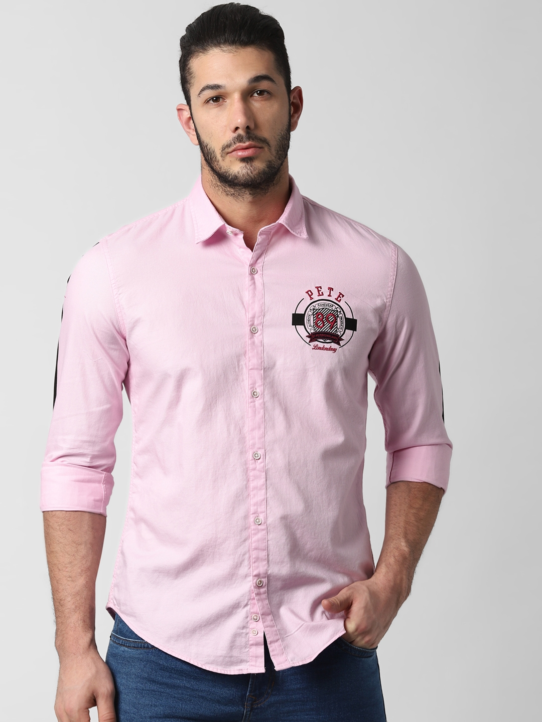 Peter England Casuals Men Pink Slim Fit Solid Casual Shirt