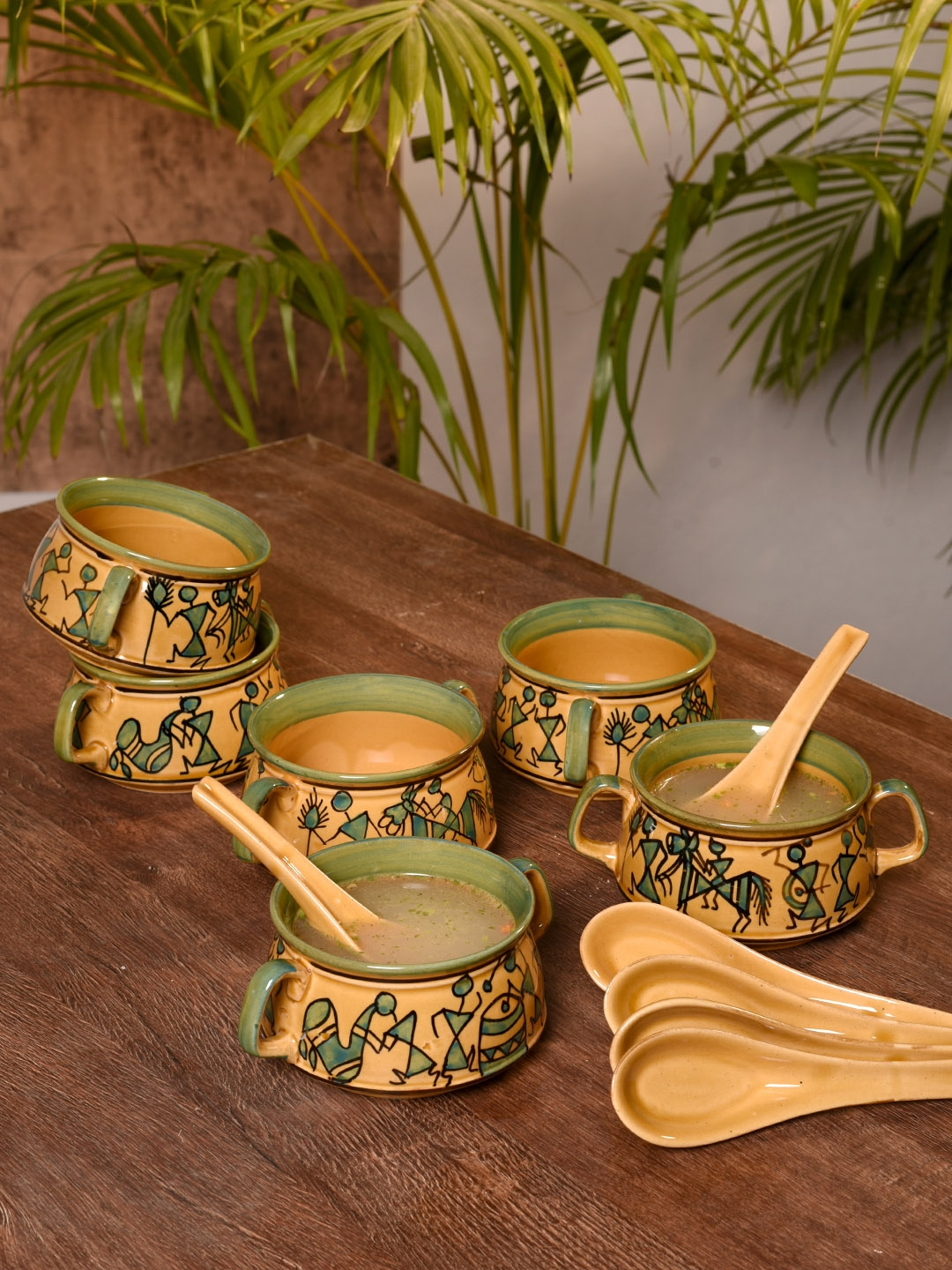 Unravel India Brown   Green 6 Pieces Printed Ceramic Bowls Set