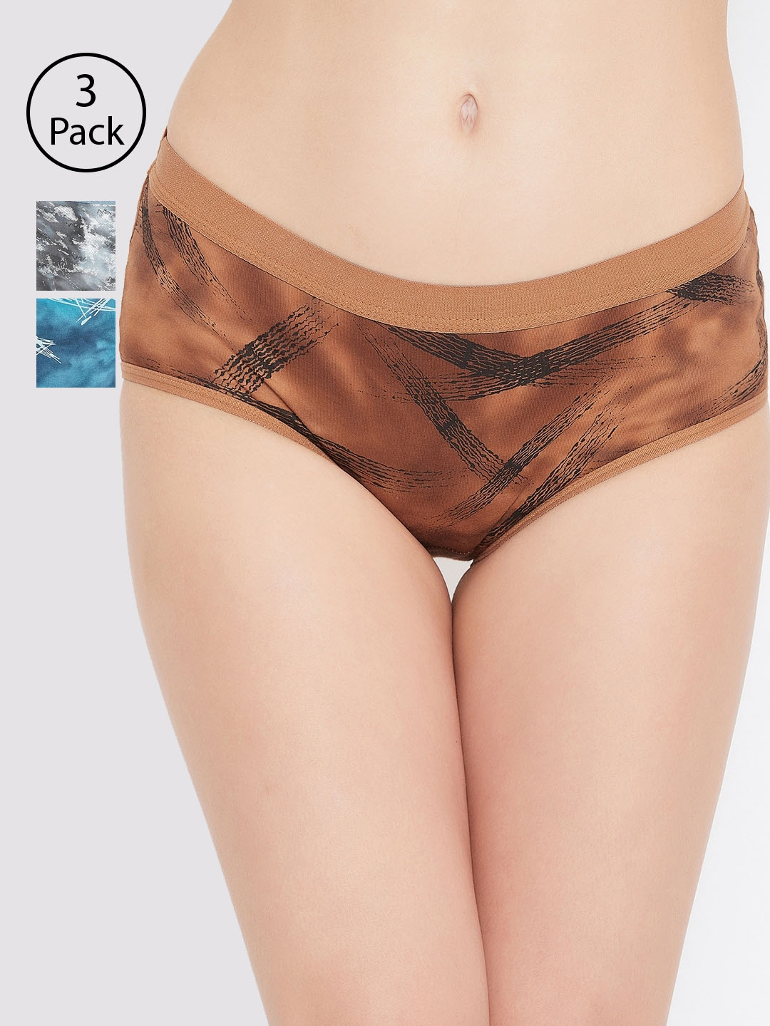 Leading Lady Women Pack of 3 Assorted Hipster Briefs L 7 GRN BRN MG 3