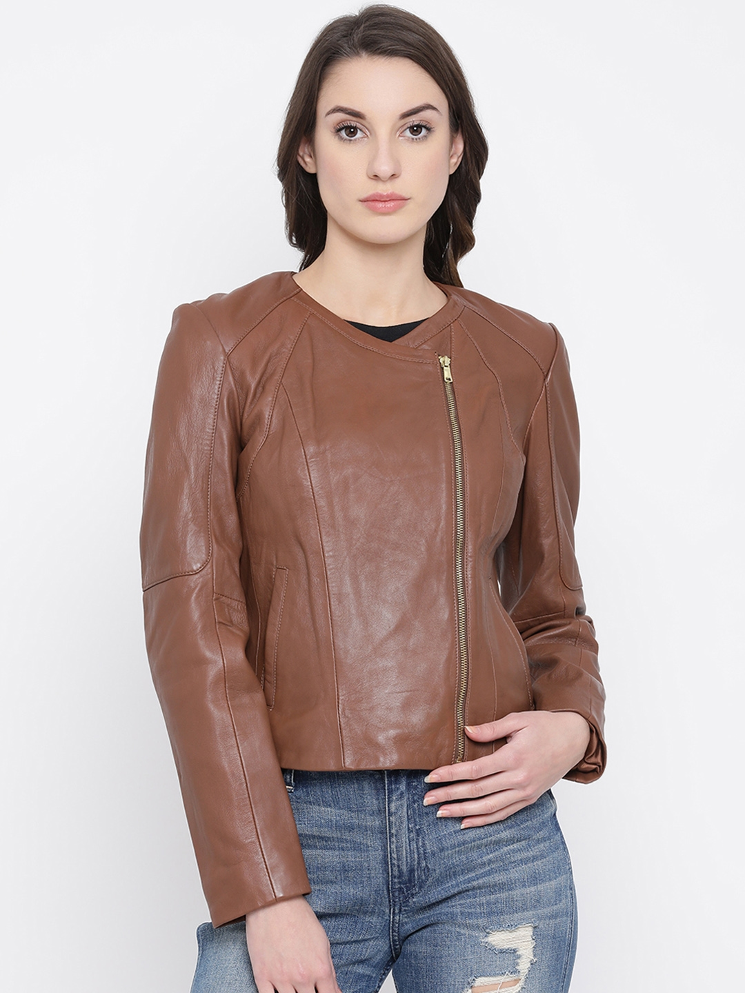 Justanned Women Tan Brown Solid Leather Jacket