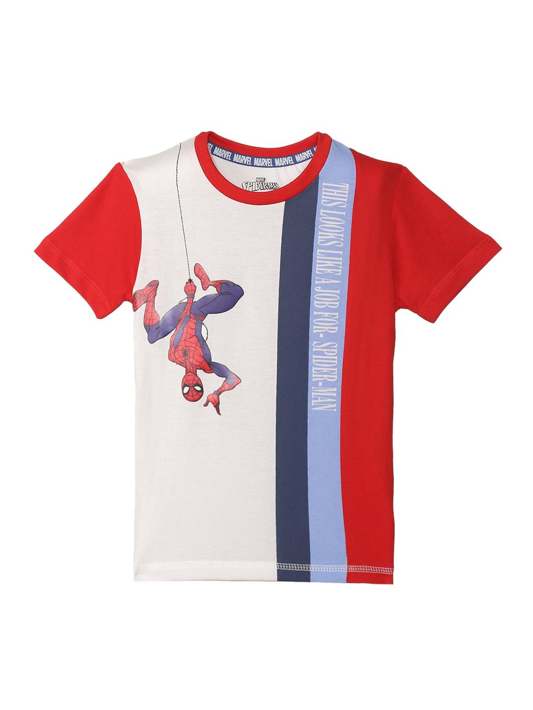 Spider man Boys White Printed Round Neck T shirt