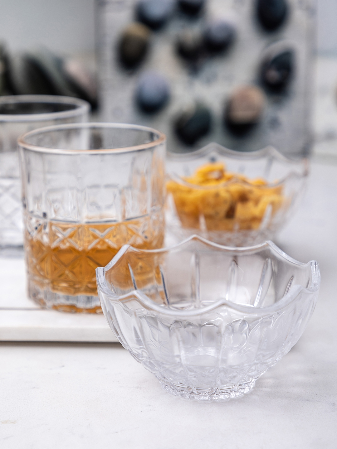 GOODHOMES Set of 8 Transparent Glass Tumblers With Bowls