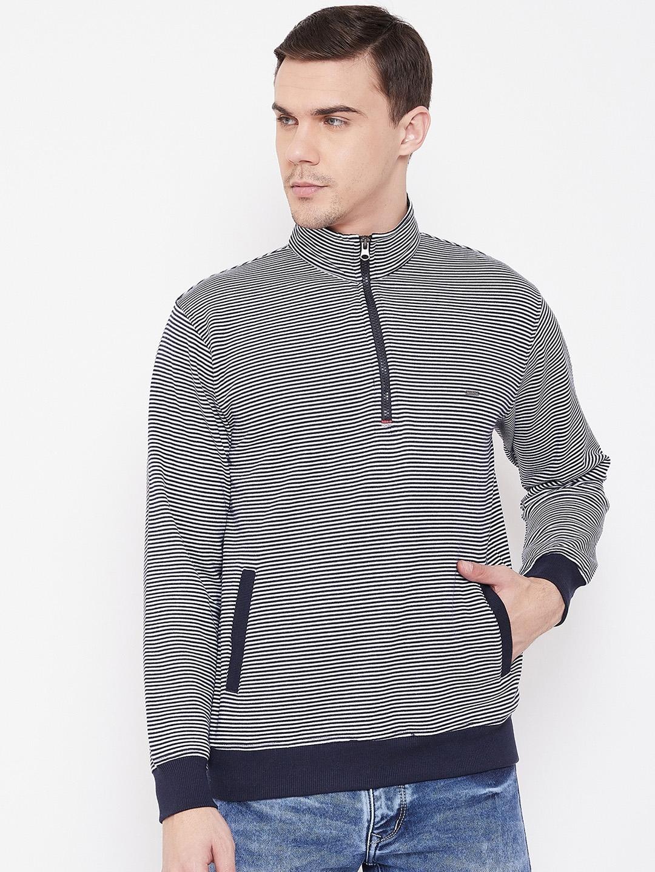 Duke Men Blue   White Striped Sweatshirt