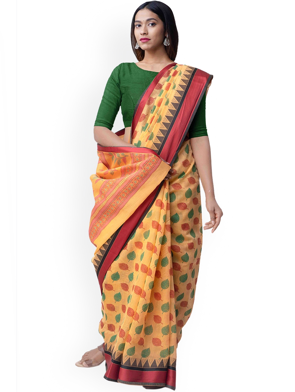 Unnati Silks Yellow   Green Silk Cotton Printed Chanderi Saree