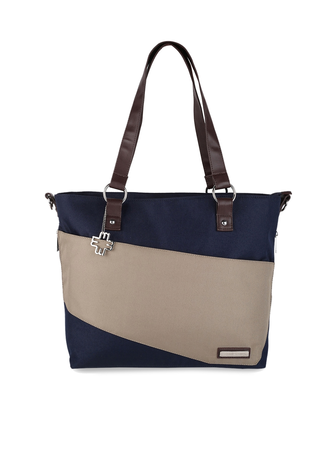 My Milestones Taupe   Navy Blue Colourblocked Diaper Bag with Changing Mat   Bottle Holder