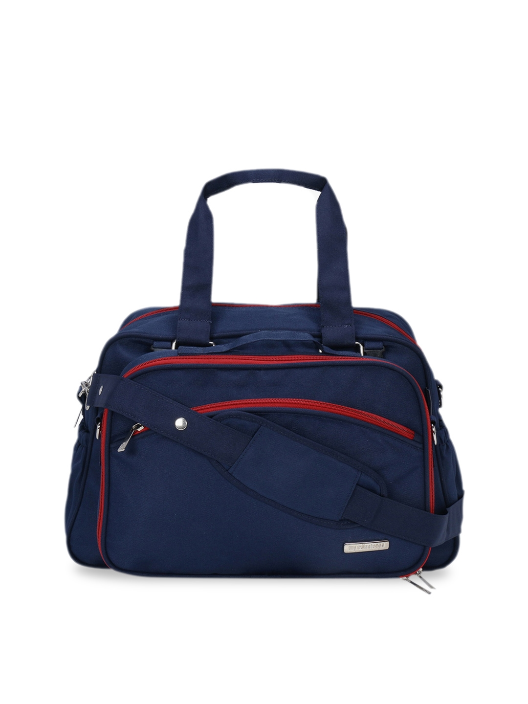 My Milestones Navy Blue Duo Detach 2 in 1 Diaper Bag with changing Mat   Bottle Holder