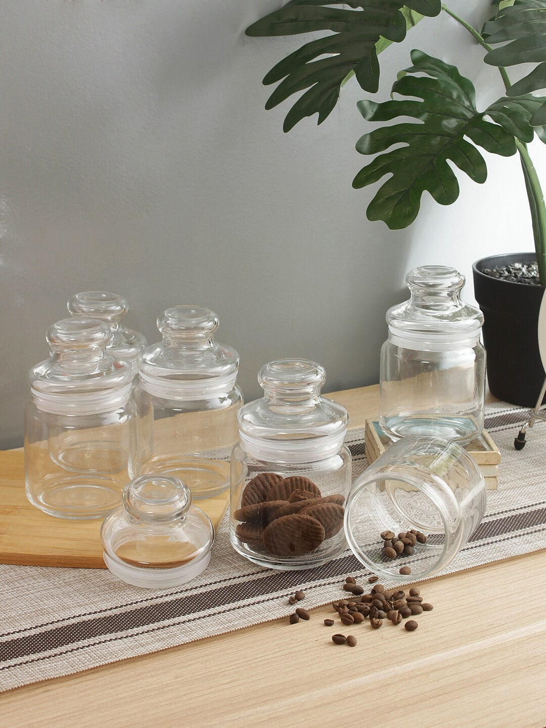 Ocean Transparent Set of 6 Glass Food Container Jars