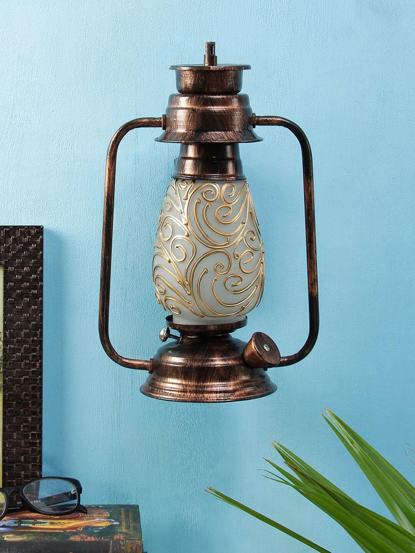 Devansh Copper Multicolor Mosaic Glass Wall Mounted Lantern