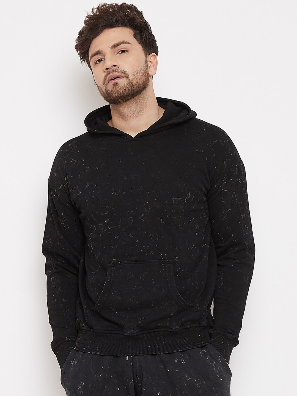 FUGAZEE Men Black Printed Hooded Sweatshirt