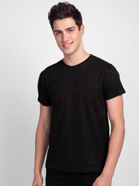 Bewakoof Men Black Solid Round Neck T shirt