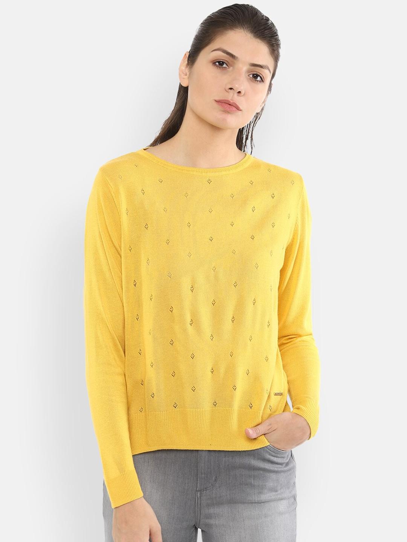 Van Heusen Woman Yellow Self Design Top