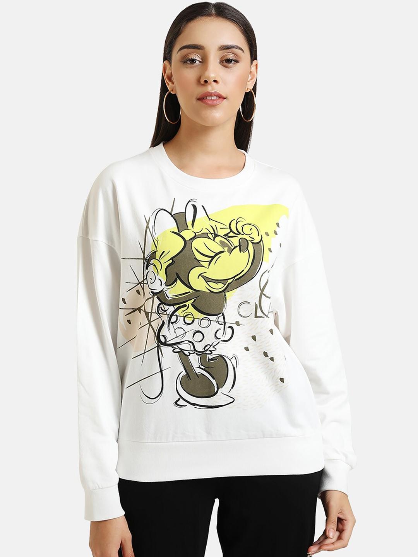 Kazo Women White   Brown Minnie Mouse Print Sweatshirt