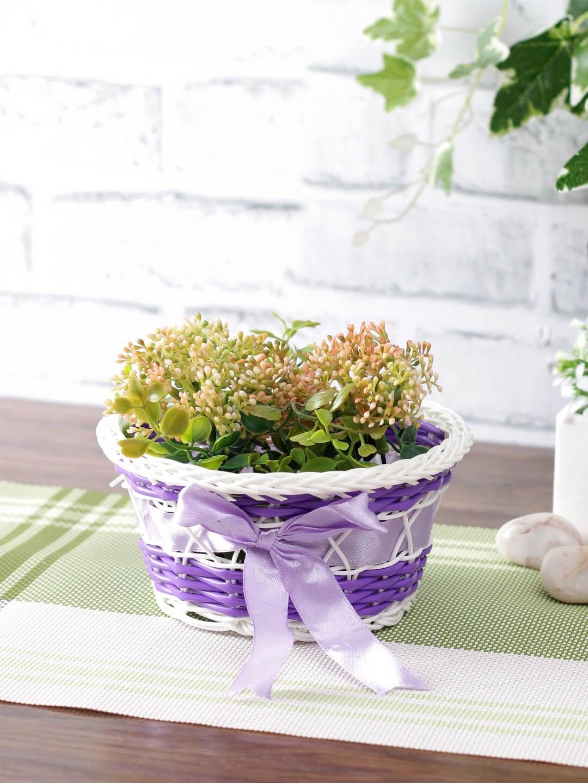 Aapno Rajasthan Purple   White Woven Design Plastic Multipurpose Basket