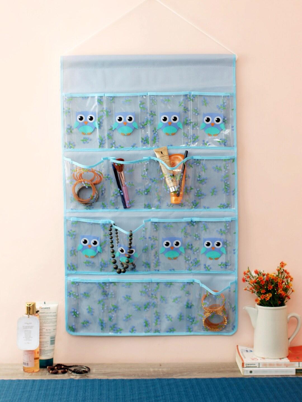 Cortina Blue Printed Multi Utility Wall Hanging Organiser