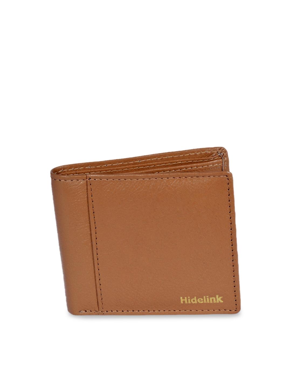 Hidelink Men Tan Brown Solid RFID Leather Two Fold Wallet