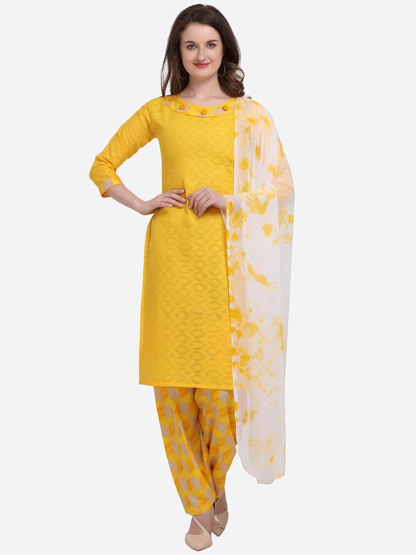 Kvsfab Yellow   White Cotton Blend Unstitched Dress Material