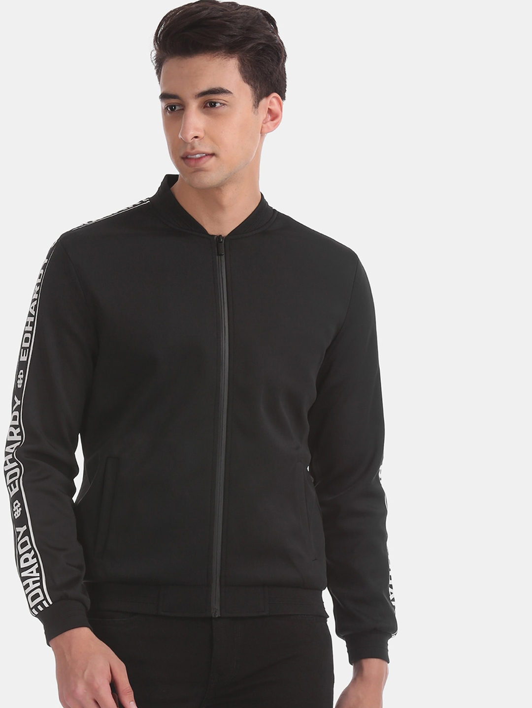 Ed Hardy Men Black Solid Sporty Jacket