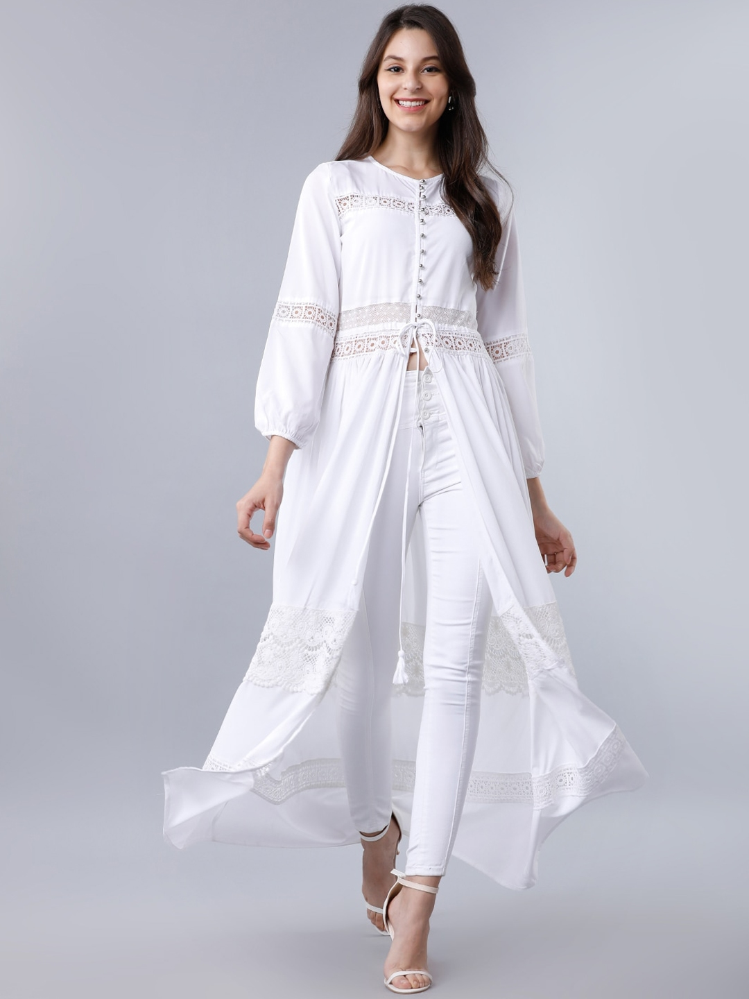 Tokyo Talkies Women White Solid Lace Maxi Tunic