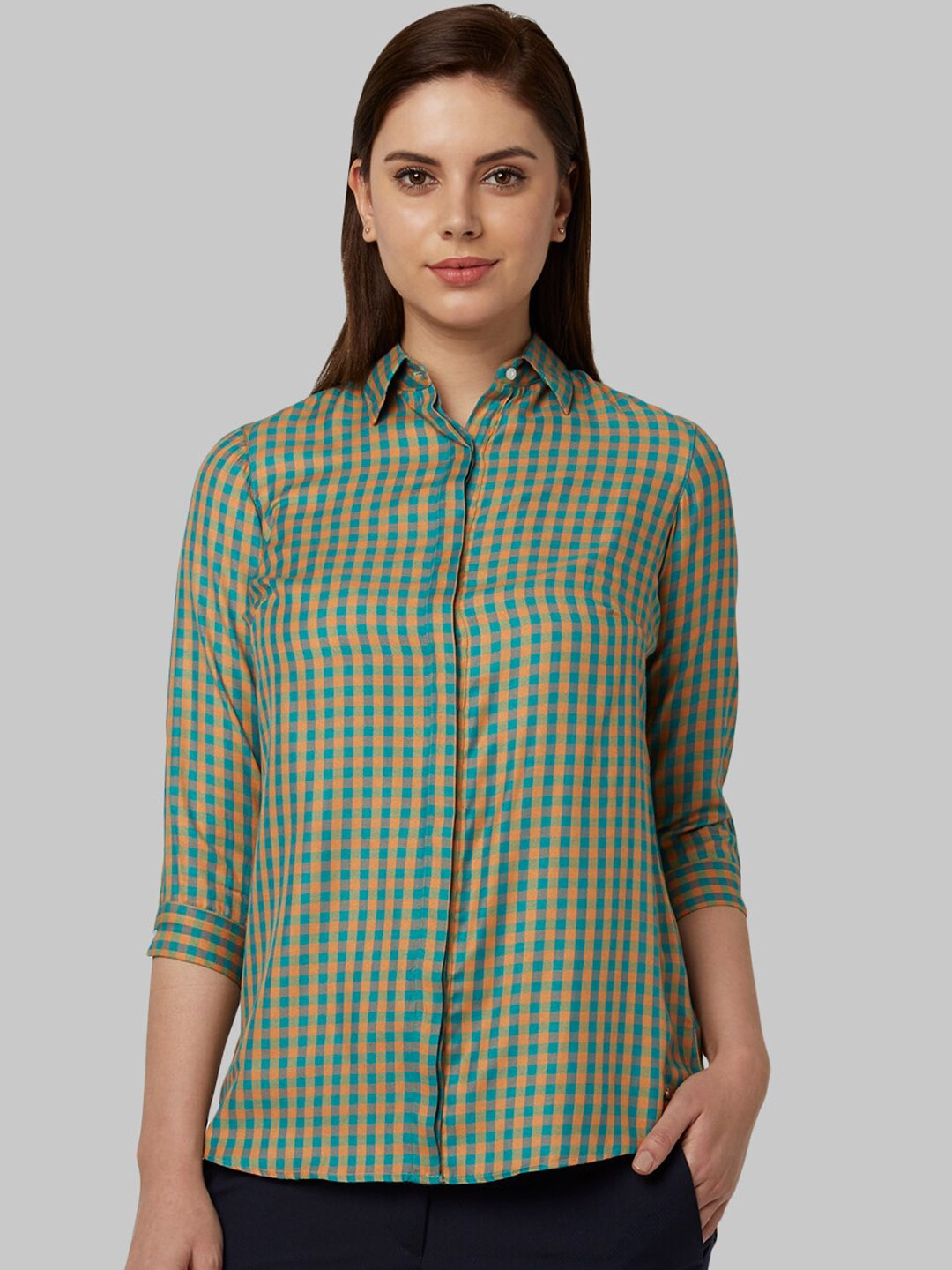 Park Avenue Woman Green   Yellow Regular Fit Checked Formal Shirt