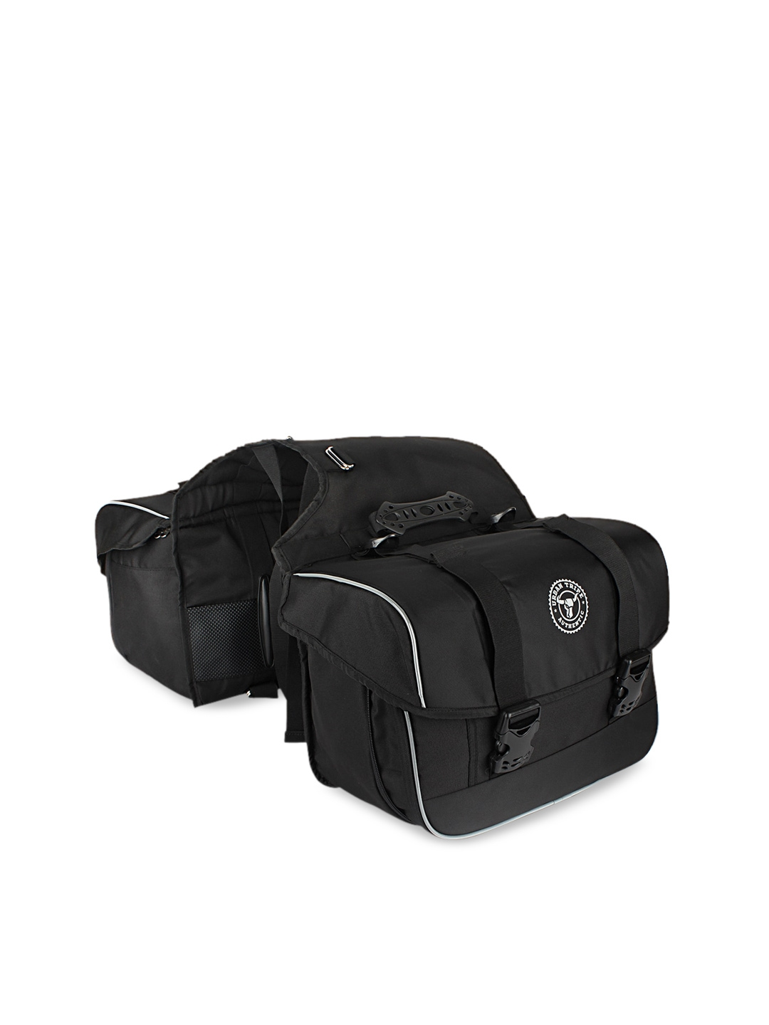 URBAN TRIBE Unisex Black Solid Travel Expandable Saddle Bag