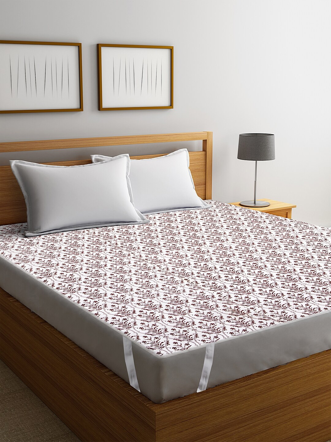Rajasthan Decor White Screen Print Quilted Double Bed Mattress Protector