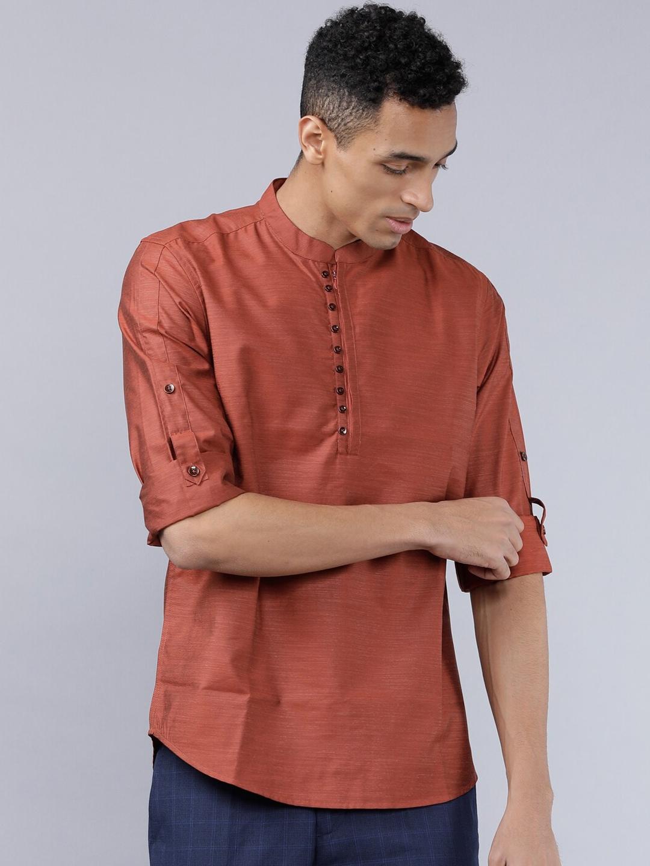 HIGHLANDER Men Rust   Beige Slim Fit Solid Casual Shirt