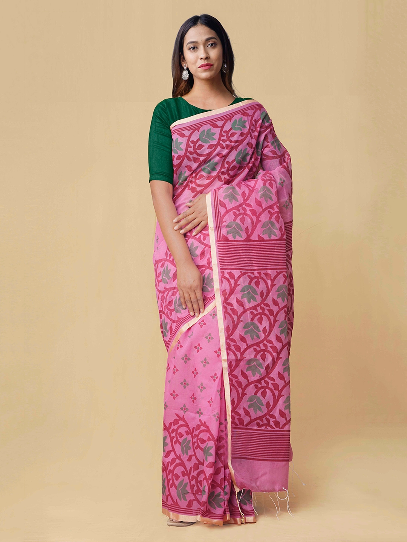 Unnati Silks Pink Printed Silk Cotton Saree