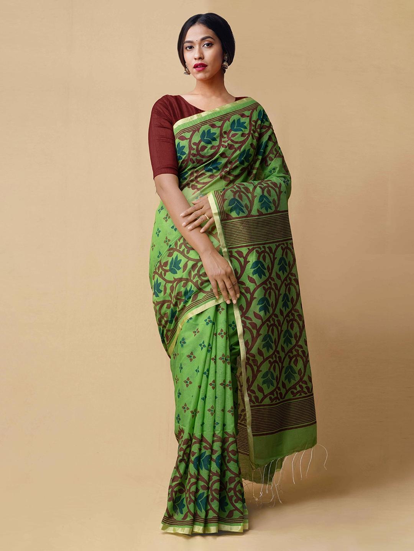 Unnati Silks Green Printed Silk Cotton Saree