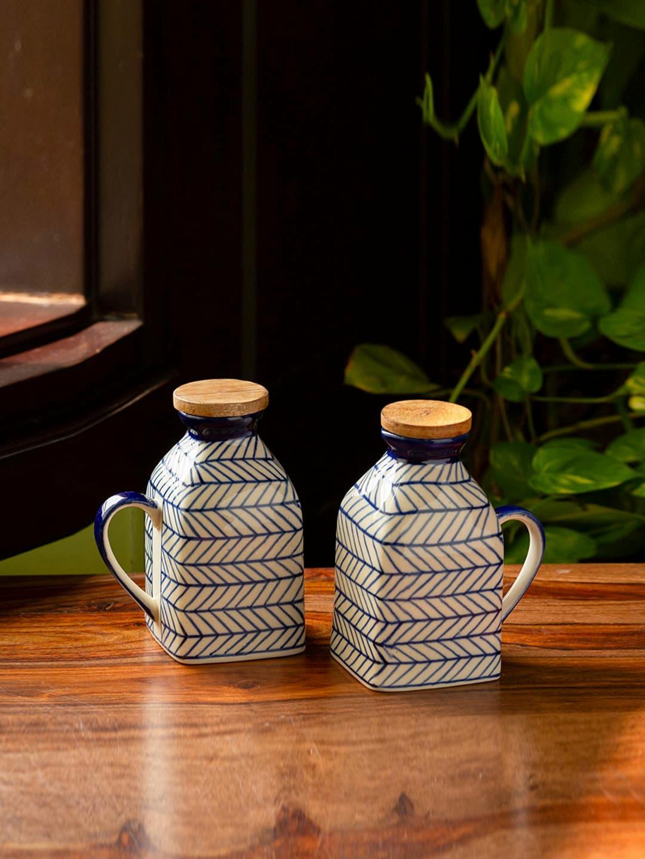 ExclusiveLane Set Of 2 Blue   White Chevron Hand Painted Ceramic Milk   Water Jugs