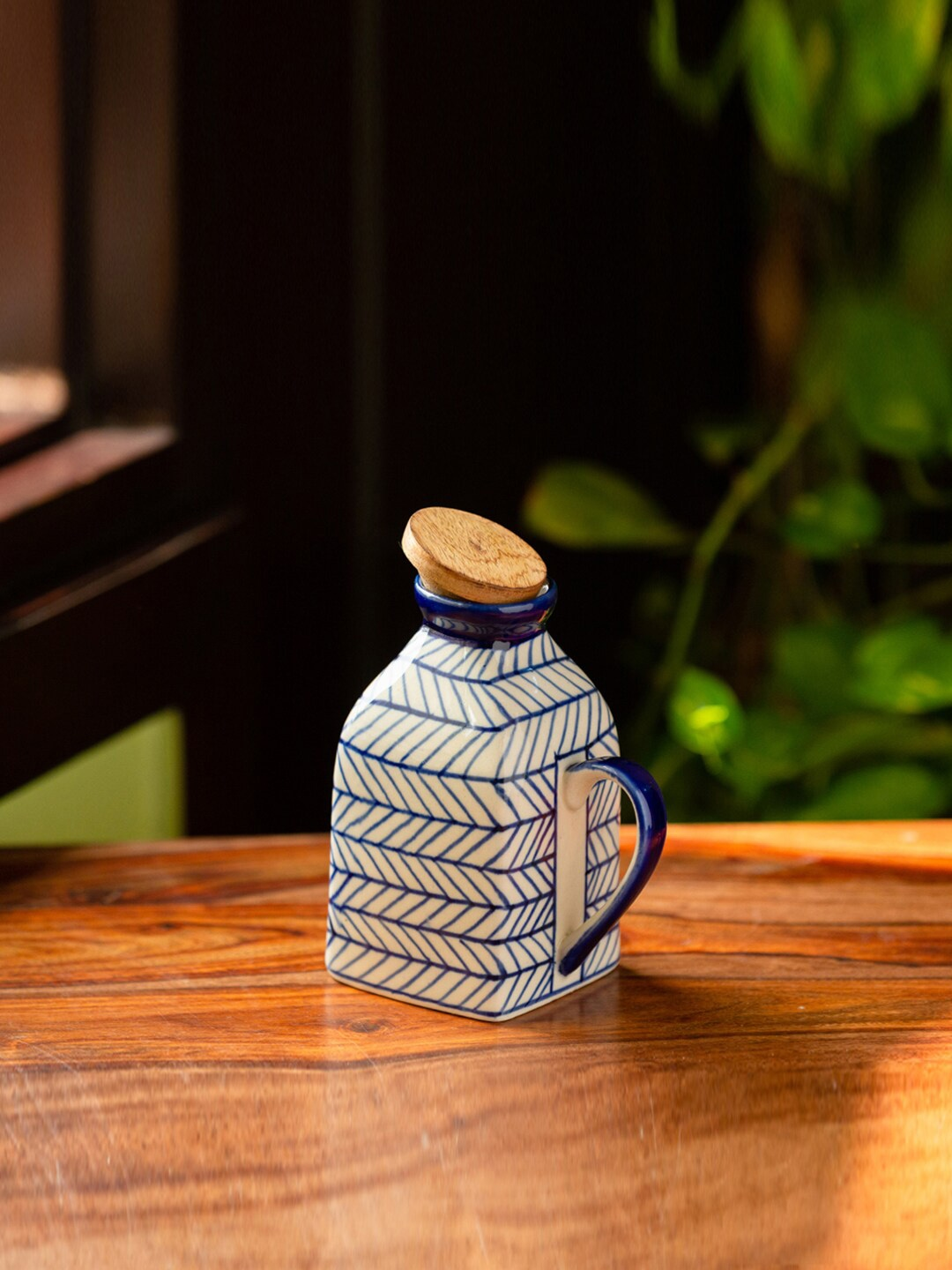 ExclusiveLane Blue   White Chevron Hand Painted Ceramic Milk   Water Jug