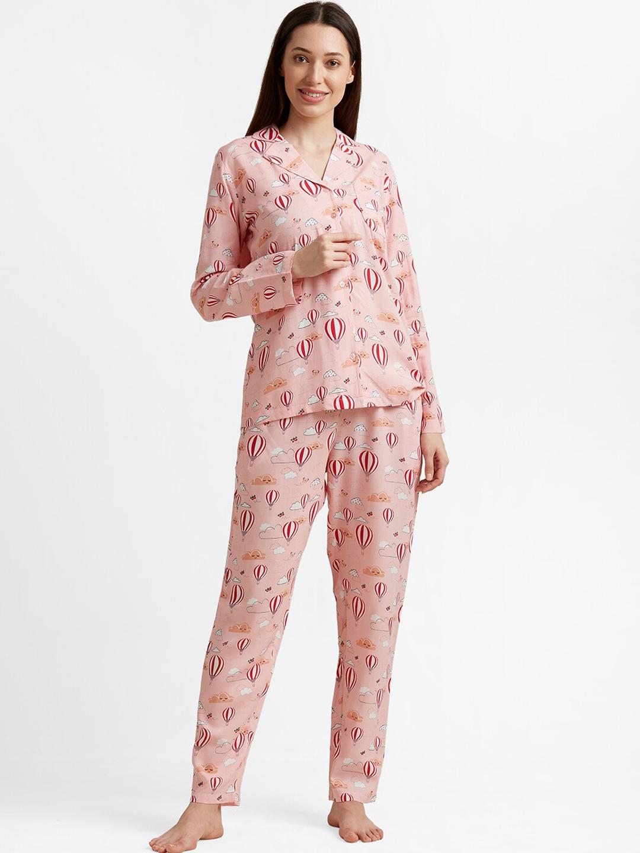 DRAPE IN VOGUE Women Pink Printed Night suit