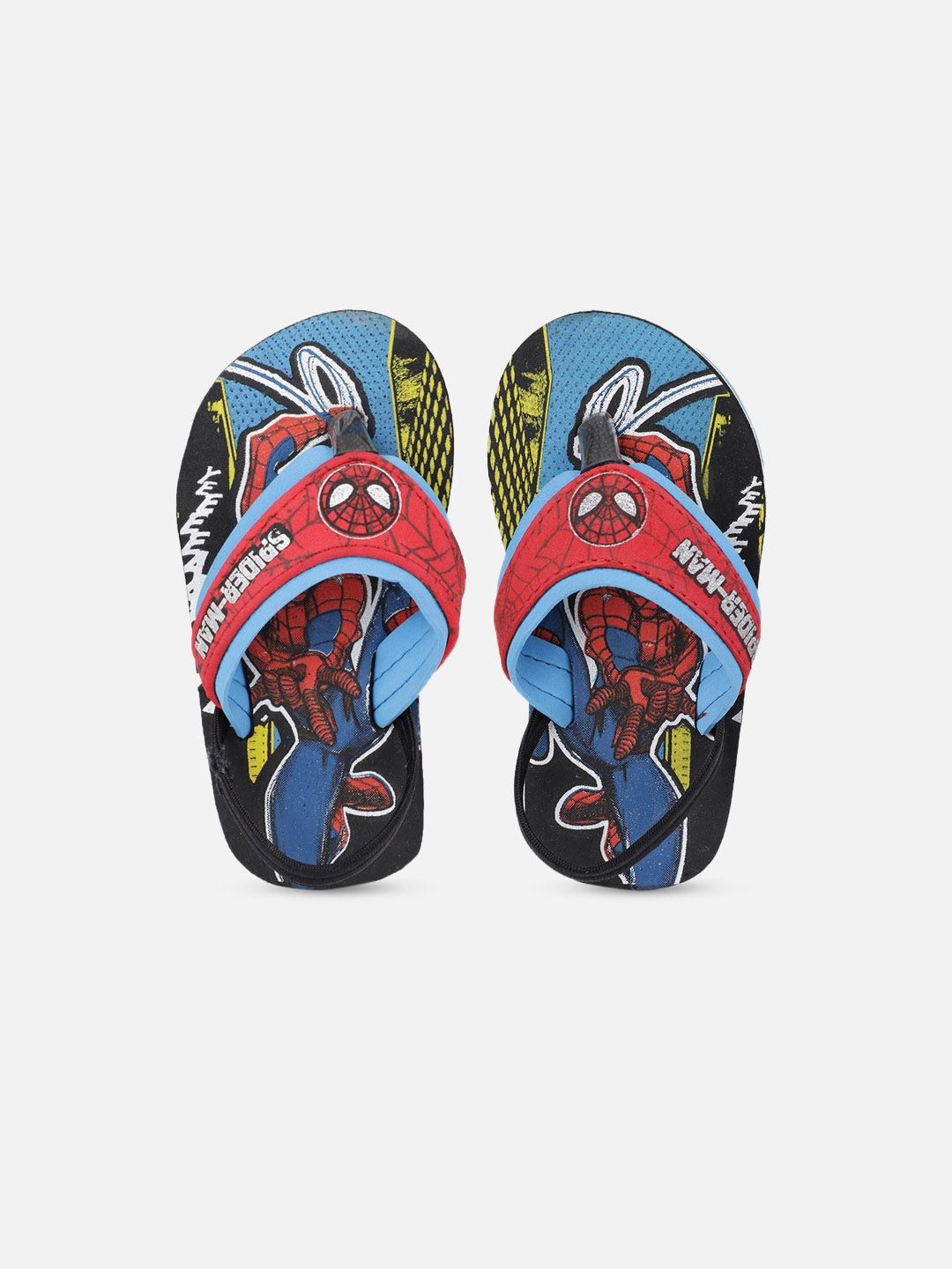 Kids Ville Boys Black   Blue Spiderman Printed Thong Flip Flops