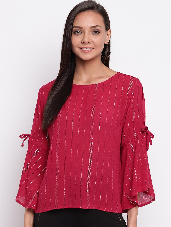Mayra Women Magenta Shimmer Bell Sleeves Top