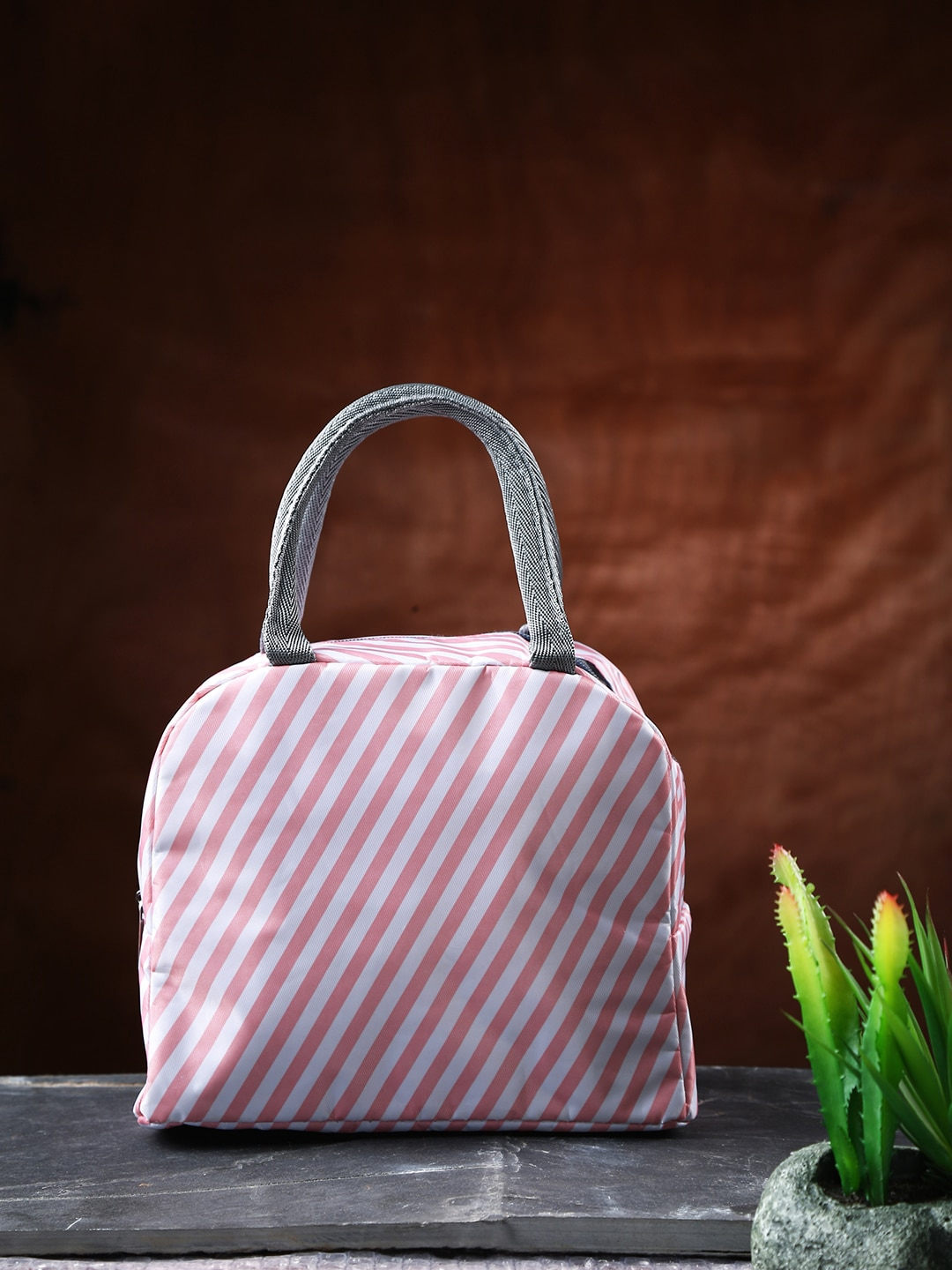 Dennmarks Pink   White Striped Thermal Insulated Leather Lunch Bag