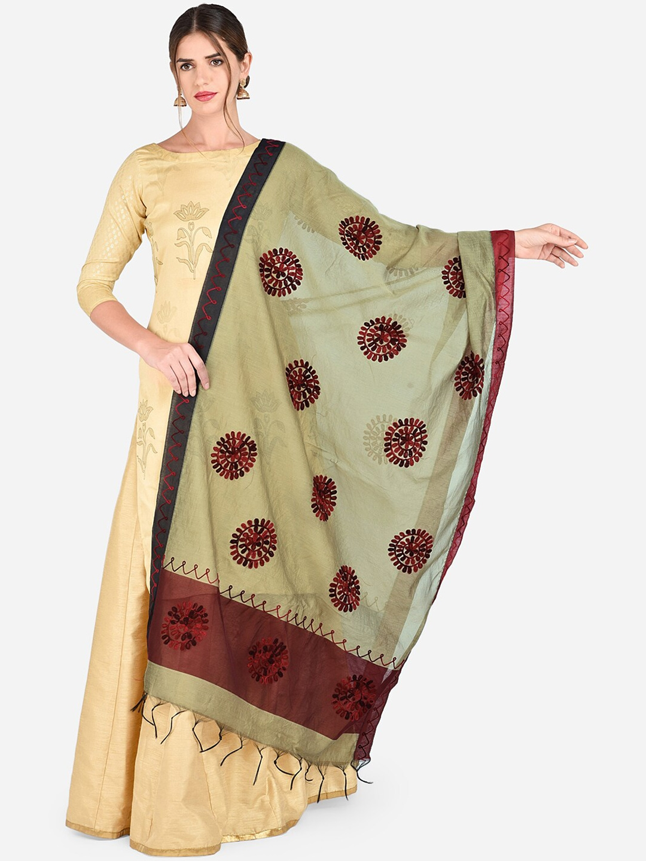 Dupatta Bazaar Gold Toned   Maroon Chanderi Silk Embroidered Dupatta