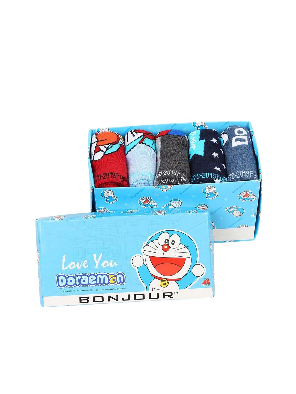 Bonjour Kids Pack of 5 Assorted Doraemon Crew Length Socks