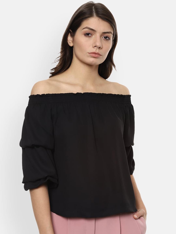 Van Heusen Woman Black Solid Bardot Top