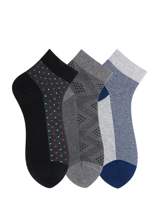 Bonjour Men Pack Of 3 Scottish Collection Multicolor Self Design Ankle Length Socks