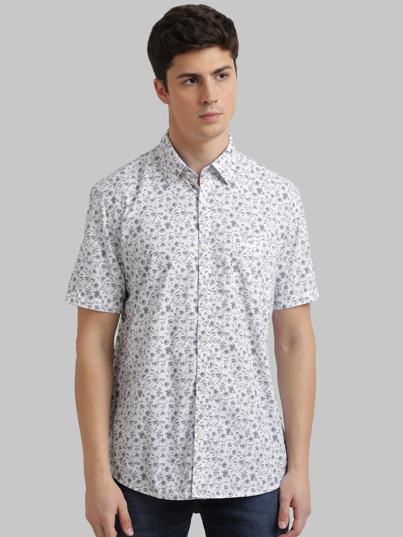 Parx Men White   Grey Regular Fit Floral Print Casual Shirt