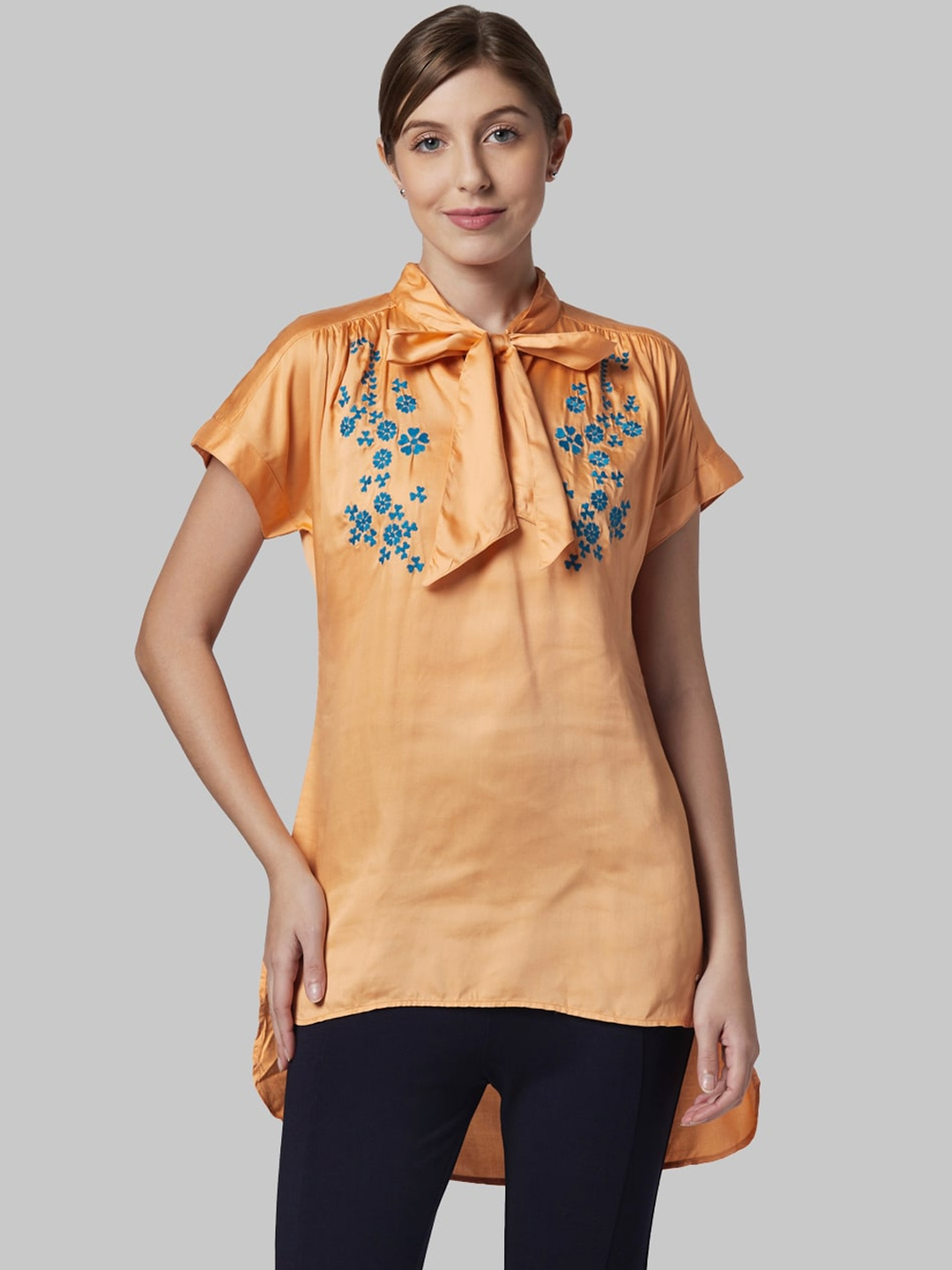 Park Avenue Woman Women Orange Embroidered High Low Top