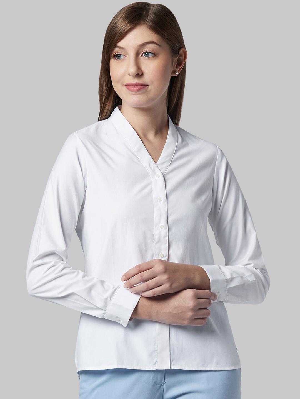 Park Avenue Woman Women White Solid Shirt Style Top