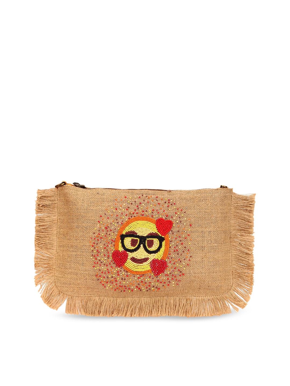 Spice Art Beige Embroidered Clutch