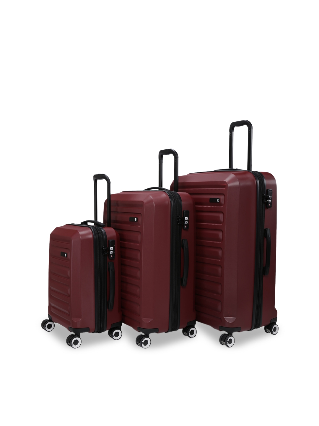 IT luggage Unisex Set Of 3 Red Intervolve 360 Degree Rotation Hard Sided Trolley Suitcases