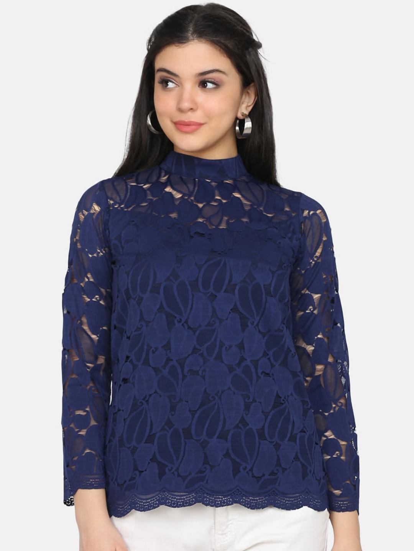 Eavan Women Navy Blue Self Design Lace Top