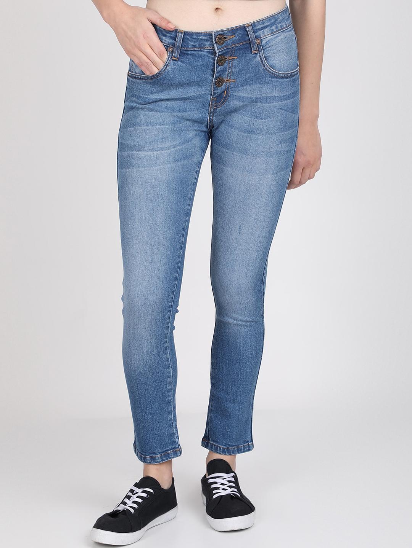 BROADSTAR Women Blue Slim Fit Mid Rise Clean Look Jeans